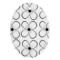 White flowers pattern Oval Ornament (Two Sides)