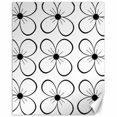 White flowers pattern Canvas 16  x 20