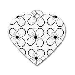 White flowers pattern Dog Tag Heart (Two Sides)