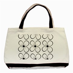 White flowers pattern Basic Tote Bag (Two Sides)