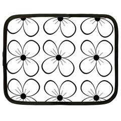 White flowers pattern Netbook Case (Large)