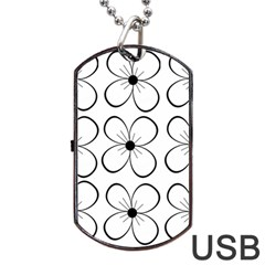 White flowers pattern Dog Tag USB Flash (Two Sides)