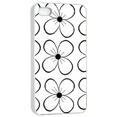White flowers pattern Apple iPhone 4/4s Seamless Case (White)