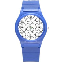 White flowers pattern Round Plastic Sport Watch (S)