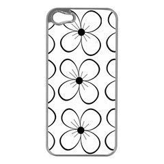 White flowers pattern Apple iPhone 5 Case (Silver)