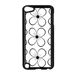 White flowers pattern Apple iPod Touch 5 Case (Black)