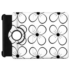 White flowers pattern Kindle Fire HD Flip 360 Case
