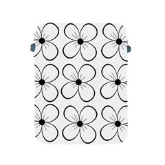 White flowers pattern Apple iPad 2/3/4 Protective Soft Cases