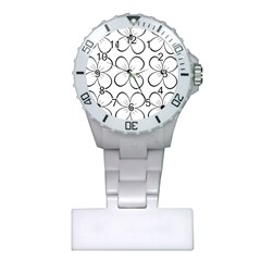White flowers pattern Plastic Nurses Watch