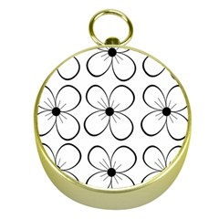 White Flowers Pattern Gold Compasses
