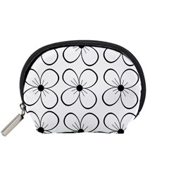White flowers pattern Accessory Pouches (Small)
