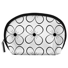 White flowers pattern Accessory Pouches (Large)