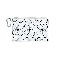 White flowers pattern Canvas Cosmetic Bag (S)