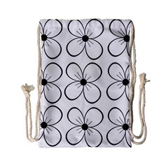 White flowers pattern Drawstring Bag (Small)
