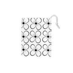 White flowers pattern Drawstring Pouches (XS)
