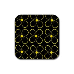 Yellow flowers Rubber Coaster (Square)