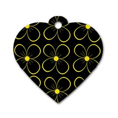 Yellow flowers Dog Tag Heart (Two Sides)