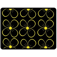 Yellow flowers Fleece Blanket (Large)