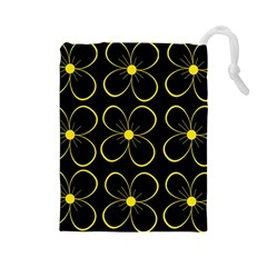 Yellow flowers Drawstring Pouches (Large)