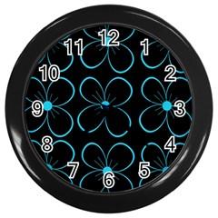 Blue flowers Wall Clocks (Black)