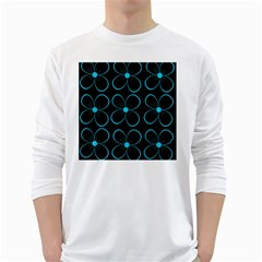 Blue flowers White Long Sleeve T-Shirts