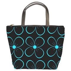 Blue flowers Bucket Bags