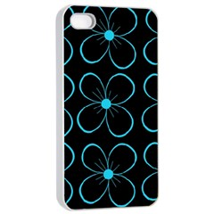 Blue flowers Apple iPhone 4/4s Seamless Case (White)