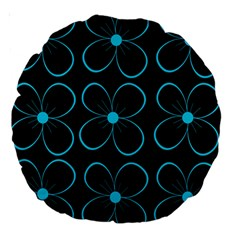 Blue flowers Large 18  Premium Round Cushions