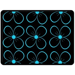 Blue flowers Double Sided Fleece Blanket (Large)