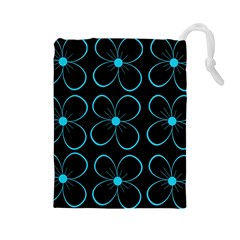 Blue flowers Drawstring Pouches (Large)