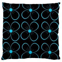 Blue flowers Large Flano Cushion Case (Two Sides)