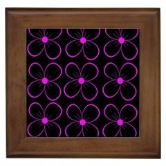 Purple floral pattern Framed Tiles