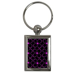 Purple floral pattern Key Chains (Rectangle)