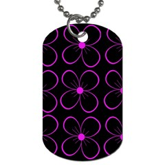 Purple floral pattern Dog Tag (Two Sides)