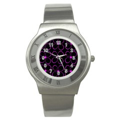 Purple floral pattern Stainless Steel Watch