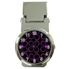 Purple floral pattern Money Clip Watches