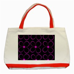 Purple floral pattern Classic Tote Bag (Red)