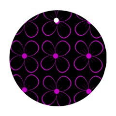 Purple floral pattern Round Ornament (Two Sides)
