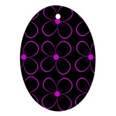 Purple floral pattern Oval Ornament (Two Sides)