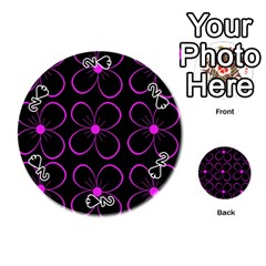 Purple floral pattern Playing Cards 54 (Round)
