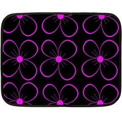 Purple floral pattern Fleece Blanket (Mini)