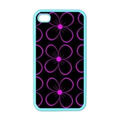 Purple floral pattern Apple iPhone 4 Case (Color)