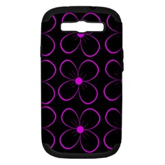 Purple floral pattern Samsung Galaxy S III Hardshell Case (PC+Silicone)
