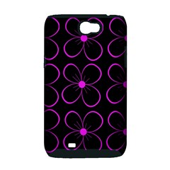 Purple floral pattern Samsung Galaxy Note 2 Hardshell Case (PC+Silicone)