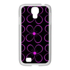 Purple floral pattern Samsung GALAXY S4 I9500/ I9505 Case (White)