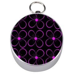 Purple floral pattern Silver Compasses