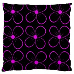 Purple floral pattern Large Flano Cushion Case (One Side)
