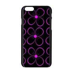 Purple floral pattern Apple iPhone 6/6S Black Enamel Case