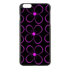 Purple floral pattern Apple iPhone 6 Plus/6S Plus Black Enamel Case