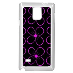 Purple floral pattern Samsung Galaxy Note 4 Case (White)